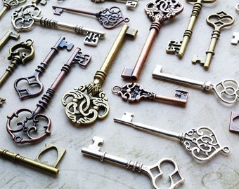 Skeleton Keys Steampunk Keys Skeleton Key Pendants 100 Key Pendants Assorted Keys Wedding Bulk Skeleton Keys Wholesale Keys 2-3.5 inch
