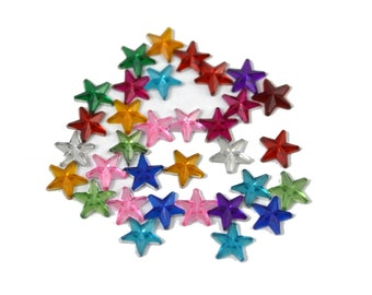 20g Mini Stars Colorful Clear Acrylic Rhinestones 10mm - 12 mm