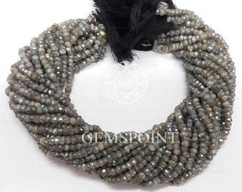 Silver Coated Labradorite 3.5-4mm Faceted Roundels, 13.5 inch Strand, Silver Coated Labradorite Rondelle Beads (R-LAB-0002)