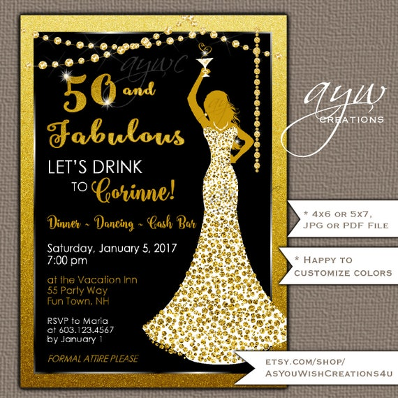 50th birthday party invitations woman bling dress 40th womans filmwisefo Image collections