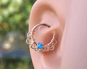 16 Gauge Blue Opal Rose Gold Daith Rook Hoop Ring Daith Septum Hoop