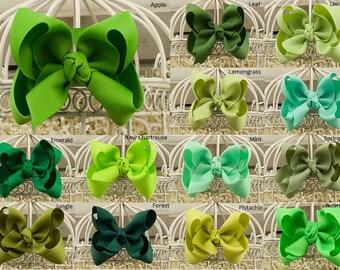 Green Boutique Hair Bow, Green Hair Bows, Green Grosgrain Hair Bow