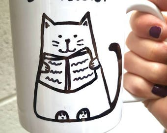 Book lover cat coffee tea cat lover gift christmas gift