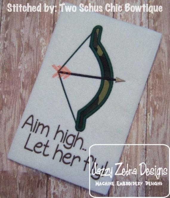 Bow and Arrow Appliqué embroidery Design - archery appliqué design - bow appliqué design - hunting bow applique design