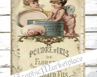 French Perfume Poudre Label Large Image Instant Download Vintage Transfer Fabric digital collage sheet printable No. 1240