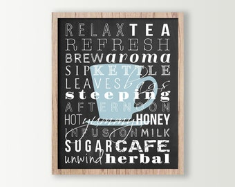 Tea Decor - Kitchen Wall Decor - Tea Prints Subway Art - Tea Sign - Kitchen Signs - Typography Prints - Cup of Tea Wall Art - Tea Art Poster