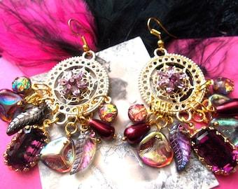 Earrings Bohemian beads Czech Bohemian glass