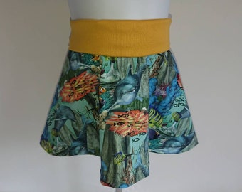 Adjustable waist skirt with under the sea theme fabric