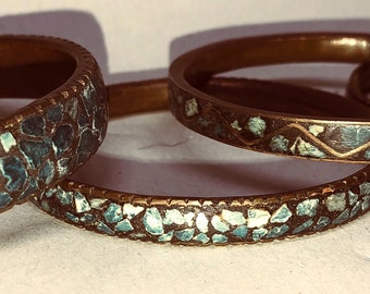SALE: Vintage 1950s' Five (5) Indian Bracelets with Turquoise Stones Set into Brass