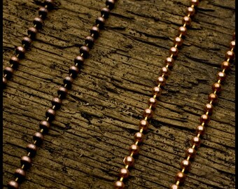 2mm Solid Copper Ball Chain Necklace - Shiny or Oxidized - 16 to 24 inches