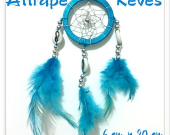 Dream catcher Dream Catcher Turquoise Blue feathers, pearls and shells