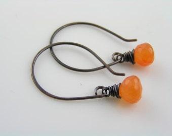 Carnelian Earrings, Handmade Wire Wrapped Earrings, Gem Jewelry, Gem Earrings, Orange Earrings, Carnelian Jewelry, E2186