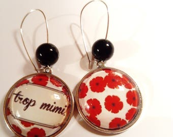 Earring ethnic original vintage black white red dots