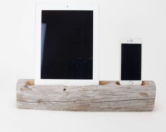 Docking Station, iPad docking station, iPhone Charger, iPhone docking Station, iPad dock, iPad 4, iPad, wood iPhone dock/ Driftwood- No.1009