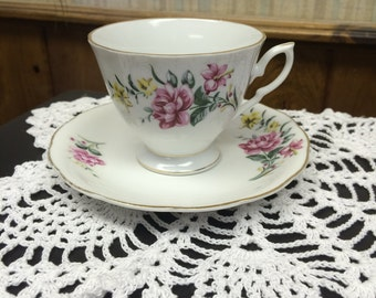 Vintage Floral Teacup & Saucer Set