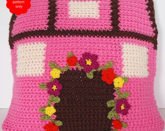 English country cottage crochet cushion pillow - PDF PATTERN