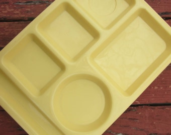 Two Vintage Yellow Plastic Lunch Trays - Tucker Housewares