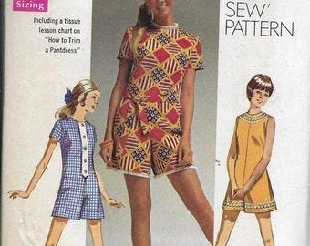"Vintage Junior Petite Girls Pattern Mini Pantdress, Zipper Back CUT-Simplicity 8667-""How to Sew""Pattern series-Dated 1969-Sizes 5jp Bust 31*"