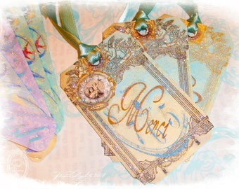 Wish and Whimsy Glittered and Ribboned Tags Set of 16 with Beautiful Backgrounds Fluttering Birds and Trendy Colors