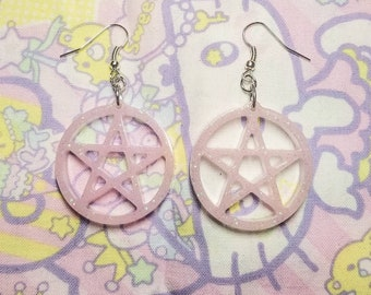 Pastel Goth Pink Glitter Pentagram Resin Earrings
