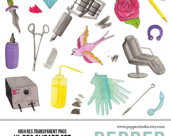 Tattoo Studio Watercolor Clipart Set - Tattoo Machine and Piercing Drawings, Hi Res Art Doodle Illustrations, Pastel Transparent PNGs