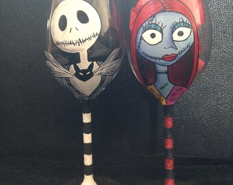 Jack and sally wine glass