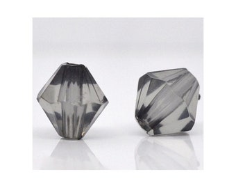 set of 20 + 10 offered beads faceted acrylic bicone grey - spinning - spacer - 8 x 8 mm hole 1.5 mm