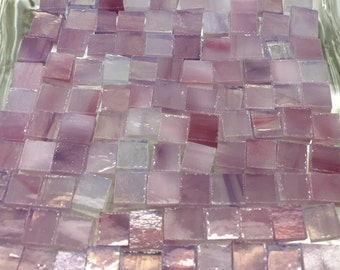 "100 1/4"" Limited GLAZE LAVENDER PINK Stained Glass Mosaic Tiles T5"