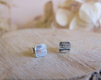 Sterling silver stud earrings with hammered bark texture.  Rustic, boho, everyday wear, present. valentines gift