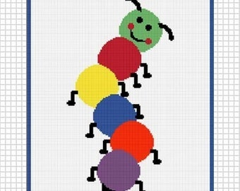 INSTANT DOWNLOADChella Crochet Colorful Caterpillar use scraps Afghan Crochet Pattern Graph 150st