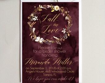 Bridal Shower Burgundi Invitation Fall in love Invite Digital  Bridal Shower Invitation Personalized Burgundi Wreath Bridal Shower Invite