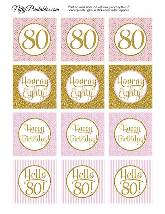 80th Birthday Cupcake Toppers Pink Gold Glitter 80th