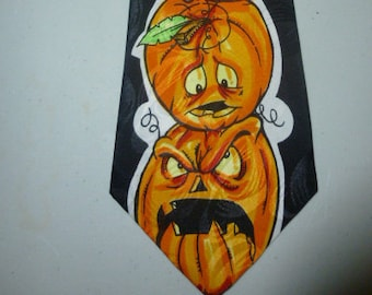 Mens Vintage Halloween Pumpkin Jack O Lantern Silk Tie Necktie Evil Goofy Pumpkins
