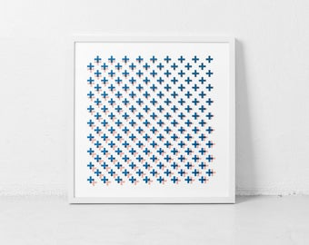 Optical Illusion Art, Geometric, Minimalist, Plus Sign, Optical Wall Art, Mid-Century Inspired, Geometric, Square Art, Pattern Wall Art
