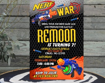Nerf Invitations,Nerf Birthday,Nerf Party,Nerf Birthday Invitations,Nerf Birthday Party,Nerf Printable,Nerf Invites,Gerf Gun War -F1236