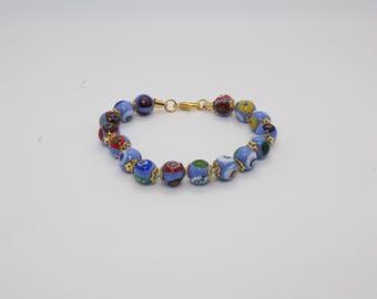 Italian Murano Mosaic Bracelet - Sky Blue