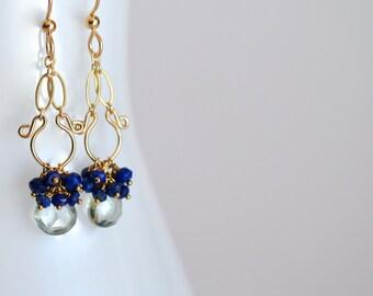 Liliana - Prasiolite, Lapis Lazuli, 14 k Gold Filled boucles d'oreilles || Vert Dangles || Lapis Lazuli Dangles