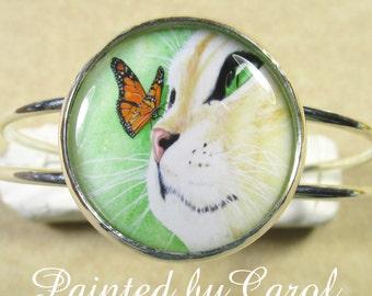 Cat Cuff Bracelet, Cat Jewelry, Cat Lover Gifts, Cat and Butterfly Bracelet, Cat Bracelet, Cat Mom Gifts, Cat Jewellery