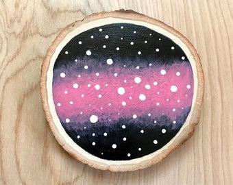 Galaxy Mini Wood Slice Painting