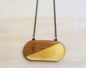Chunky Wooden Pendant • Maple Wood • Gold Leaf • Capsule • 84mm x 40mm • 50cm Black Rolo Chain • Lobster Clasp