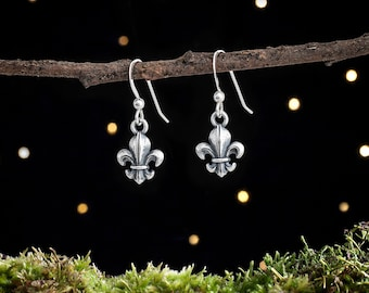Sterling Silver Fleur de Lis Earrings - Small, Double Sided [CLEARANCE]