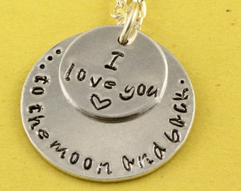 I Love You To The Moon Necklace - Custom Necklace - Silver Necklace - Mother's Day Gift for Mom - Gift For Grandma - Personalized Necklace