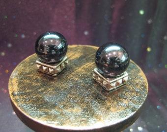 Black Crystal Ball w Antique Silver Metal Base - Dollhouse Miniature