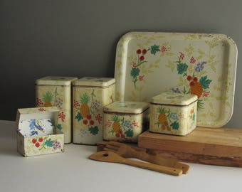 vintage kitchen decor - Cheinco Canister Set - 4 canister set plus tray and recipe box