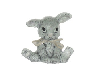 Grey Rabbit shelf sitting ceramic figurine. One of a kind hand painted work of art.