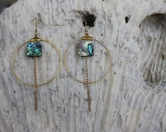 Gypsea Hoops || Gold Hoop Earrings, Abalone Shell Earrings, Abalone Bead, Gold Chain, Ocean Inspired