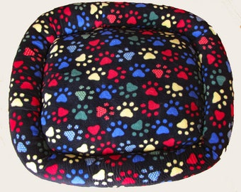 XX LG, Rainbow Paw Print, Dog bed, Washable pet bed, Cat bed, oval pet bed, Dog bedding, Kitten bed, Kennel bedding, Plush Fleece pet bed