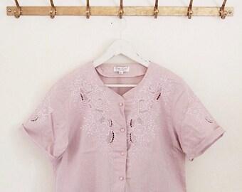 Vintage 80er Leinen Lavendel Hand bestickte Bluse
