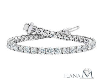 Diamond Tennis Bracelet 18Kt White Gold, 4.95 Total Carat Weight, Diamond Clarity SI2 and Color I, Jewelry Classical Diamond Tennis Bracelet