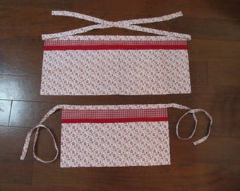 Mommy and Me Half Apron Set. Red and White. In Plaids and Floral. Fully lined. Four  pockets.